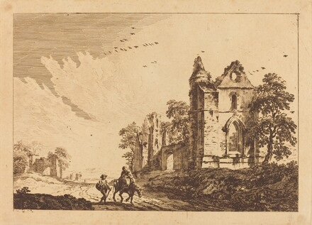 Landscape with Ruin at Right, Woman on Donkey at Left Center