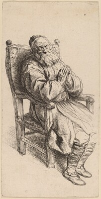 Old Man Sleeping in an Armchair