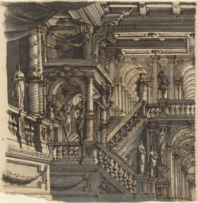 An Elaborate Staircase in a Palace
