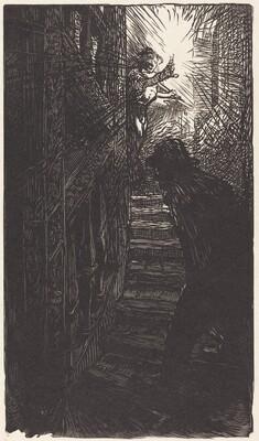 Escalier sculpte rue Boutebrie