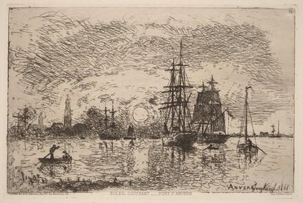 Setting Sun over Antwerp Harbor (Soleil couchant - port d'Anvers)