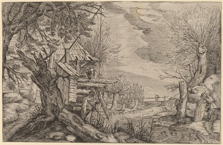 Landscape with Log House near a River