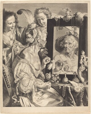 An Old Woman at the Toilet Table