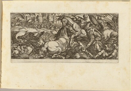 Battle Scene with Two Horses Attacking Each Other