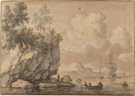 Figures in Rowing Boats in a Rocky Cove, Sailing Ships Beyond