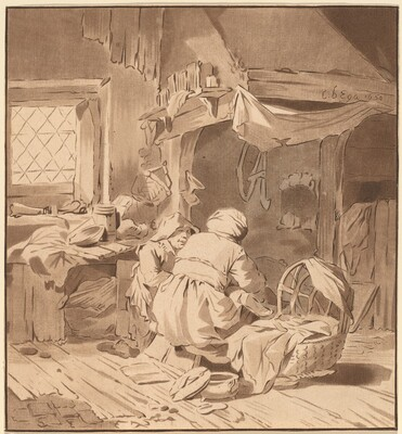 Interior of a Peasant House with Two Women
