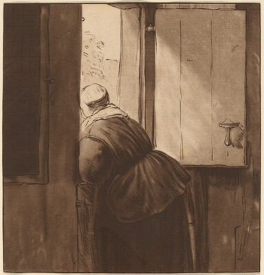Woman Leaning over a Lower Door