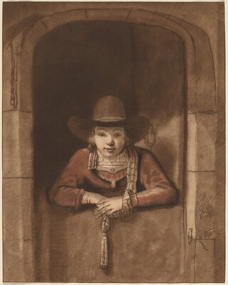 Boy Leaning over a Lower Door