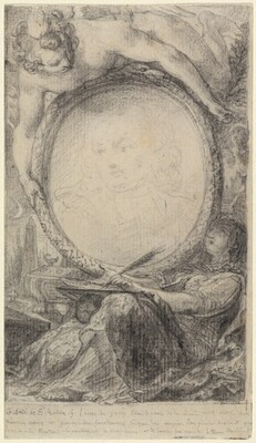 Allegorical Frame with a Genius and a Veiled Woman Writing