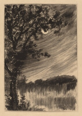 Moonlit Landscape with Tree at the Left