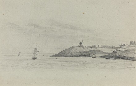 Coastal Landscape with Shipping; Windmill in Distance