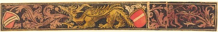 Grotesque Strip with Dragon, Shields and Wild Men