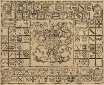 Coats of Arms with Corner Portraits of Henry VII, Henry VIII, Edward VI, and Mary