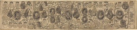 Family Tree with Portraits of Henry VII, Henry VIII, Elizabeth, James, and Charles