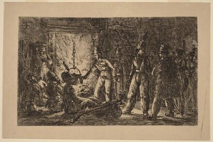 Cossacks before a Fireplace (Les cosaques devant la cheminee de la ferme en Hollande) [recto]