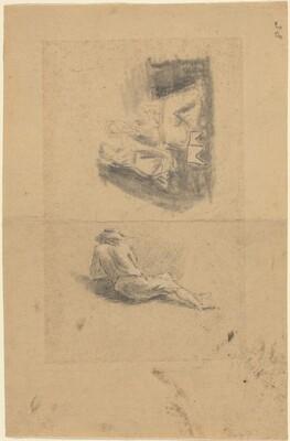 Reclining Man; Two Women