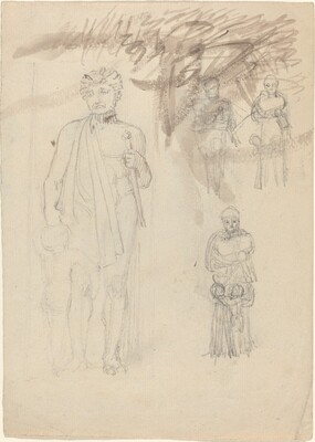 Sheet of Studies, including Warrior with Child [recto and verso]
