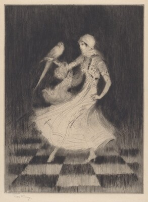 Woman Dancing with a Parrot
