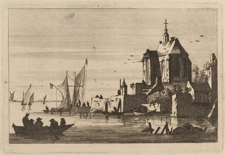 Church in an Inlet with Rowboat in the Foreground