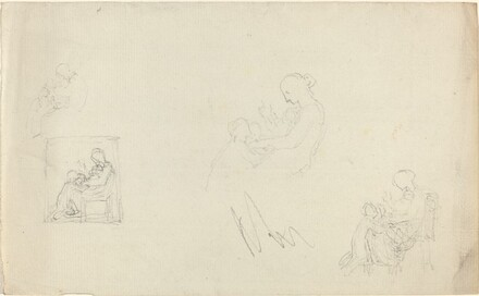 Four Studies of a Seated Woman with Children at Her Feet