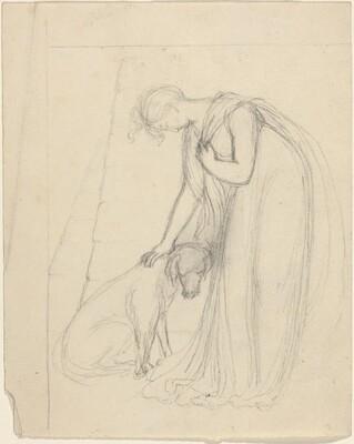 Woman Patting a Dog