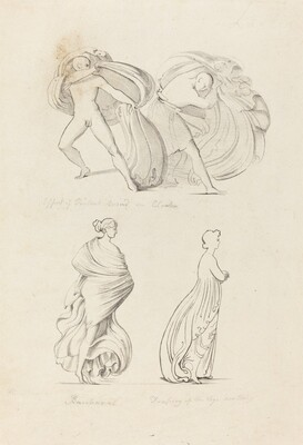 Drapery, Three Figures, a Bacchante and Two From Nature