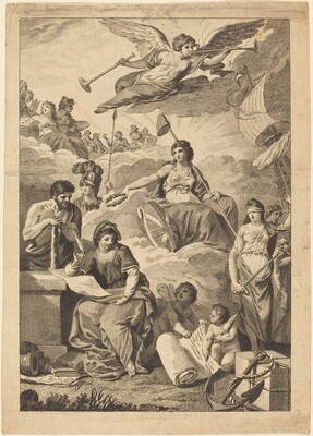 Allegorical Figure of Britannia (?) with Hercules, (Mars?), Justice and Others