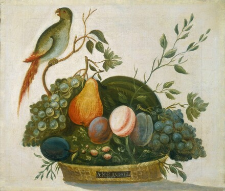 Basket of Fruit with Parrot