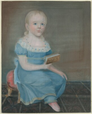 Portrait of a Girl with Blue Eyes and Blue Dress