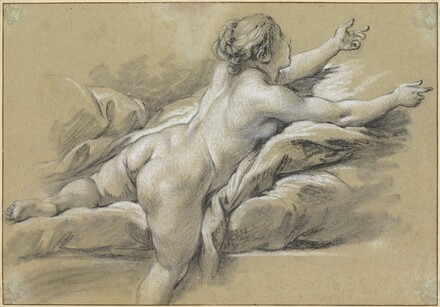 A Nude Woman Reaching to the Right