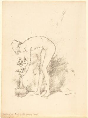 Nude Model Arranging Flowers
