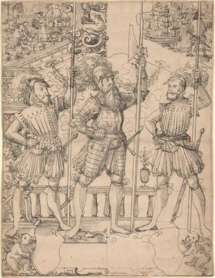 Halberdier and Two Pikemen