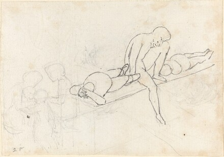Seated Man Flanked by Two Reclining Figures; Huddle of Figures in Lower Left Corner
