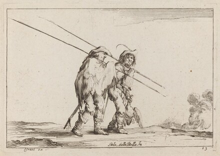 Two Pikemen Traveling on Foot