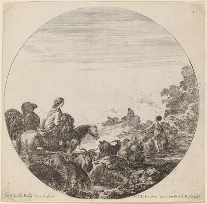 Shepherds and Flock with Woman and Camel