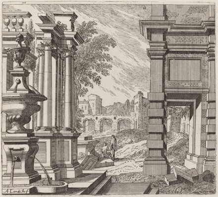 Architectural Fantasy with a Fountain, Classical Ruins, and a Bridge