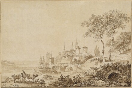 Shepherds in a Landscape before a Fortified Town