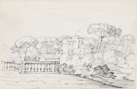 Terrace by a River with a Villa and Trees Beyond