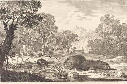 River Landscape with Two Beavers