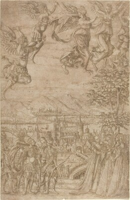 A King and His Retinue Confronting Ladies under a Celestial Battle
