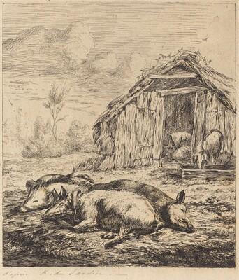 Les trois cochons couchés devant l'étable (Three Swine Lying In Front of a Sty)