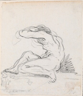 Seated Male Nude with Arm over Head, Seen from the Side