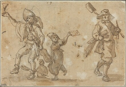 Three Revelers and a Gardner