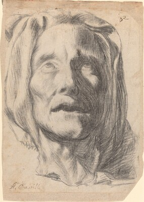 Head of an Elderly Woman with Upturned Eyes