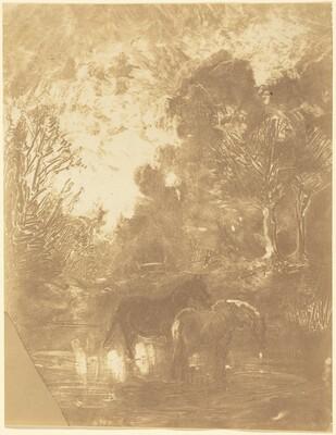 Two Horses at a Watering Place (Les Deux chevaux a l'abreuvoir)