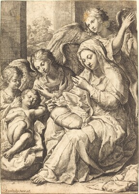 Virgin and Angels Watching Over the Sleeping Infant Jesus