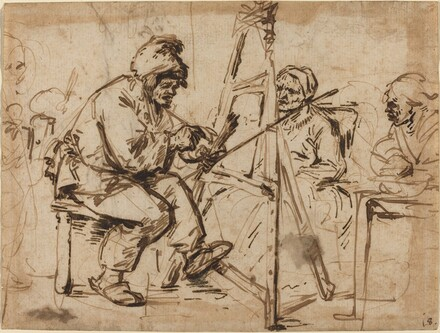 An Artist Seated at His Easel [recto]