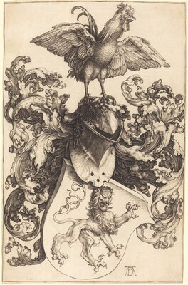 Coat of Arms with a Lion and a Cock