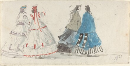 Four Ladies in Crinolines Walking at Trouville