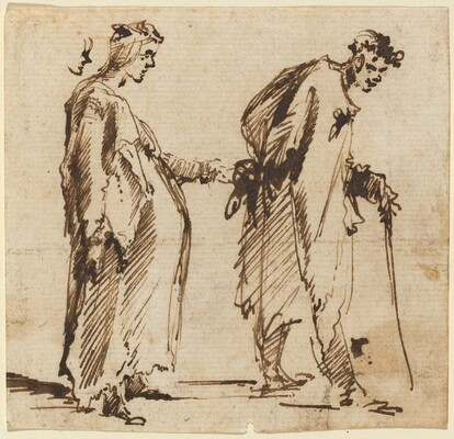 A Pregnant Young Woman and a Young Man with a Staff